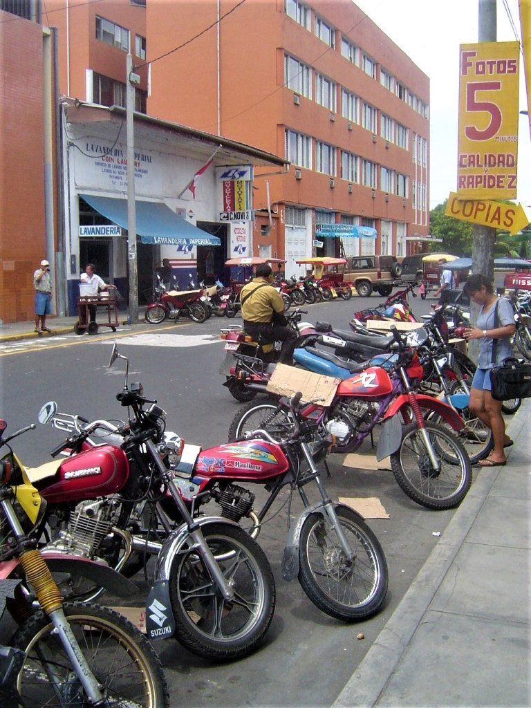 Motorcycles, Rickshaws, Mototaxis, Motocarros or Tuk-Tuks in Iquitos.