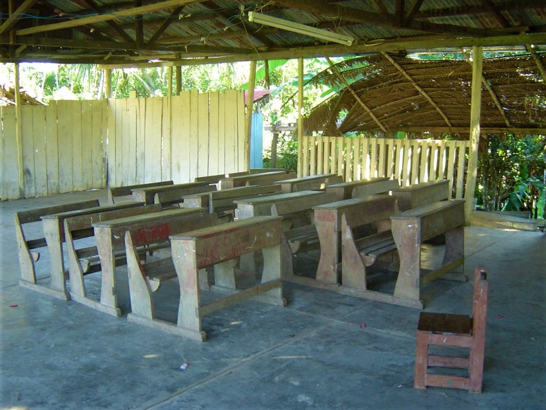 The one classroom at the local school located in the Amazon Rainforest off one of the Amazon River Tributaries.