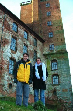 Luke and Sarah Beth in front of the tower of Kolding Castle (Koldinghus) located along the shore of Slotsø Lake.