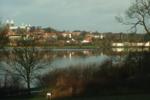 Looking over Søndersø Lake to the city of Viborg and its Cathedral.
