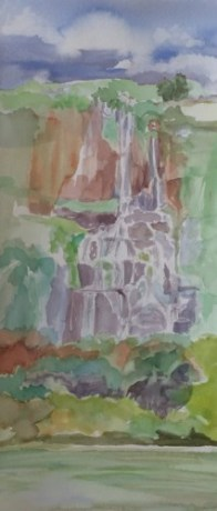 Thousand Springs at Ritter Island, transparent watercolor, plein air