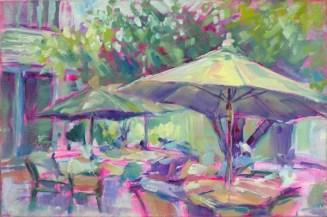 """Courtyard Shade, 8"""" x 12"""" , oil & acrylic on canvas panel"""