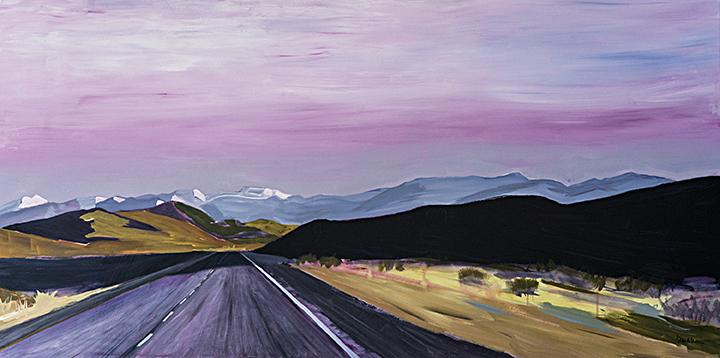 Pink Sky, 60 w x 30 h, acrylic on canvas