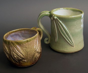 Two vessels. Thrown stoneware, cone 10 reduction fired.