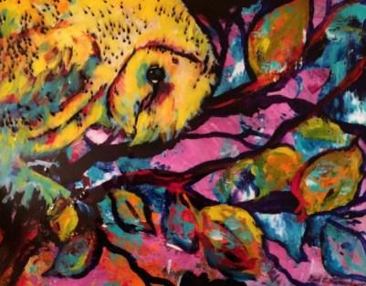 Baby Owl, 11x14, mixed media on art board