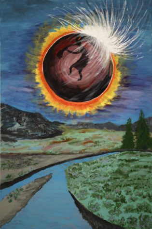 Drawing down the moon in acrylic by Cyndi Blue 8