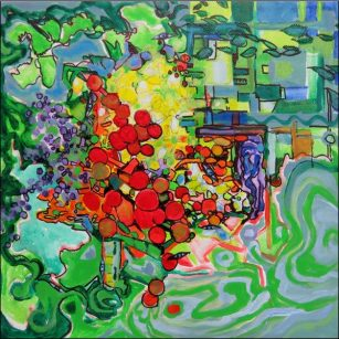 Urban Garden, 12 x 12, acrylic on canvas
