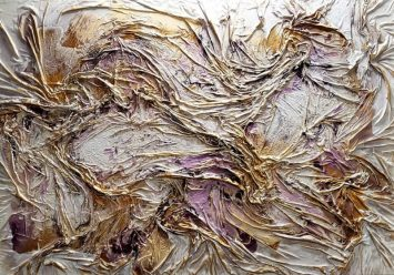 Textured Purple and Gold - 48x72 mixed media using cloth, enamel, and liquid gold leaf on wood
