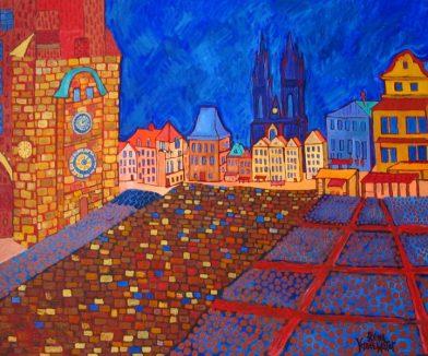 Prague Oil:Canvas with Gold acrylic 30x36