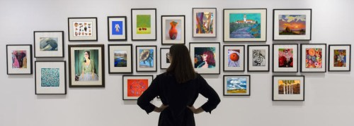 Woman viewing an art show