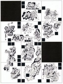 Grid Two, collage of original ink drawings, matted and framed