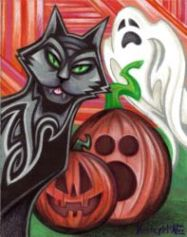 """All Hallows Hellions - mixed media on paper (ink/colored pencil) - 8"""" x 10"""""""