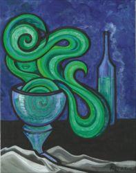 "In Absinthia - acrylic and gouache on canvas - 8"" x 10"""