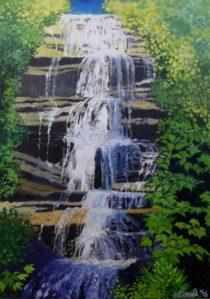 "Arethusa Falls. 40""x28"", Oil on canvas"