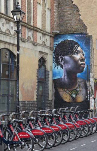 Bicycles and mural, Spitalfields, London, Pigment inkjet print