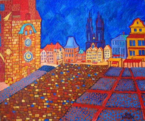 Prague, oil & gold acrylic on box canvas