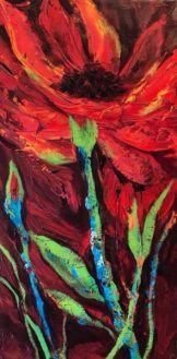 """Touch of Floral"" viscous acrylic, 10"" x 20"" x 1.5"""