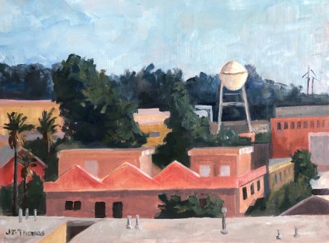 Joan Thomas, Ray's Balcony View 8x10 in Oil on board 2020