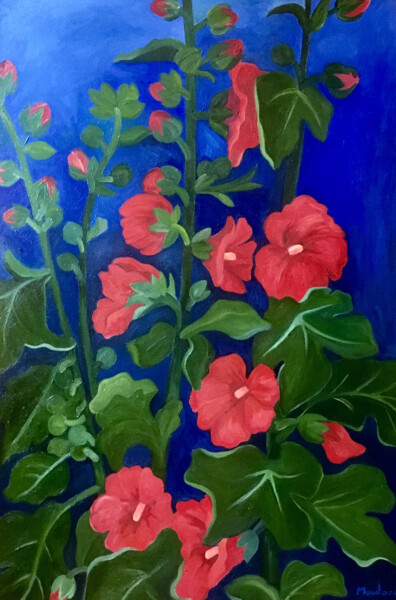 Hollyhocks, Oil painting, 24X36 inches