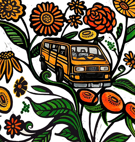 Magic Bus, hand-colored linocut, 13X13 inches