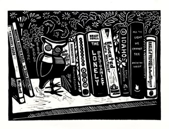Owl with Books, linocut, 13X13 inches
