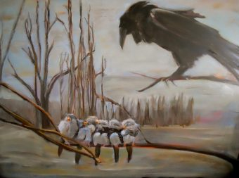 "Raven and Chicks, oil on board, 22"" x 28"""