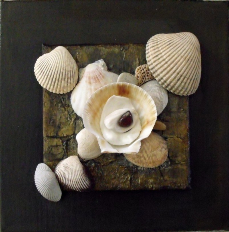 """Scatter of Shells 1"" assemblage, 12""x12""x3.5"""