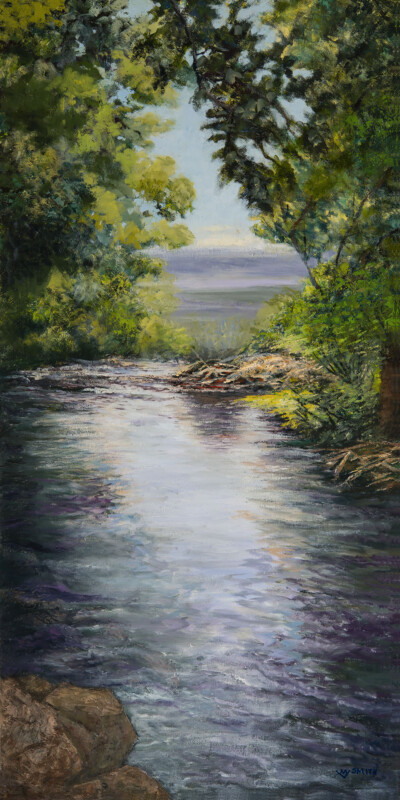 """Sunrise on Squaw Creek"", Oil, 18x36"