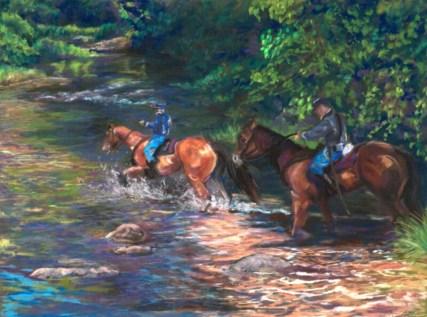 """Confederate River Crossing"", Pastel, 16"" X 12"""