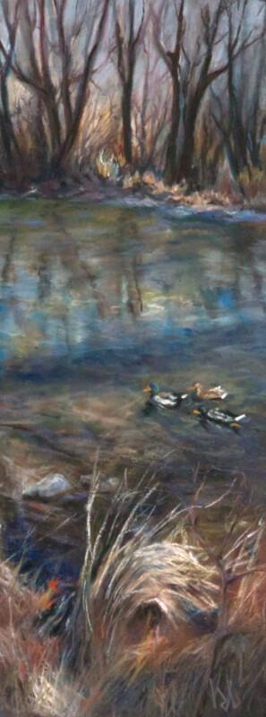 """Ducks on the Boise River"", Pastel, 4.25"" X 11.5"""