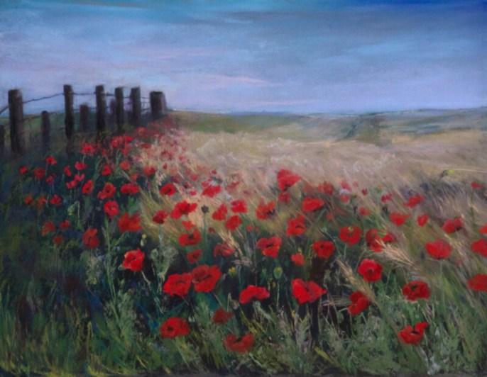 """Field of Poppies"", Pastel, 14"" X 11"""