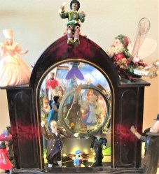 """""""Through the Glass Slipper"""", Mixed interactive Disney meets the Wizard of Oz characters with working clock 18""""X18""""X16"""""""