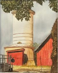 Nampa Silo, watercolor, Gina Brostmeyer