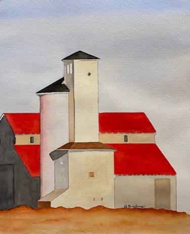 Farm and Silo, watercolor, Gina Brostmeyer
