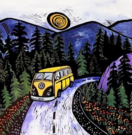 Mountain Drive, hand-printed, hand-colored linocut, Laurel Macdonald