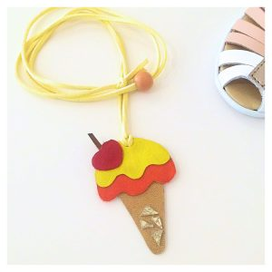 Ice cream kids leather necklace