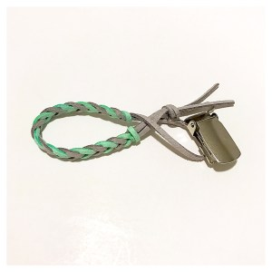 mint and grey suede braided pacifier clip