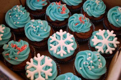 Blue Christmas Cupcake