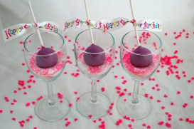 Purple wine glass cake pops