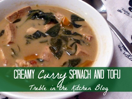 Creamy Curry Spinach and Tofu text