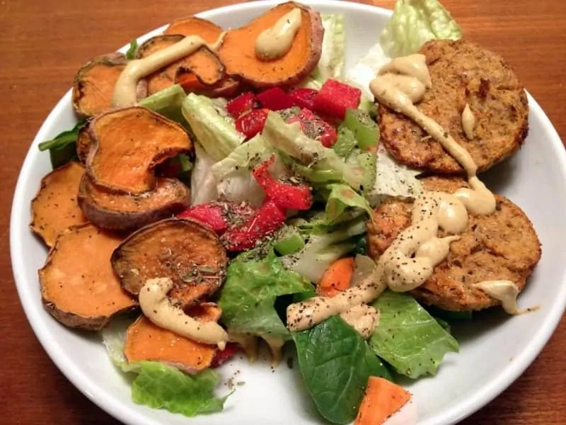 dinner salmon cake salad