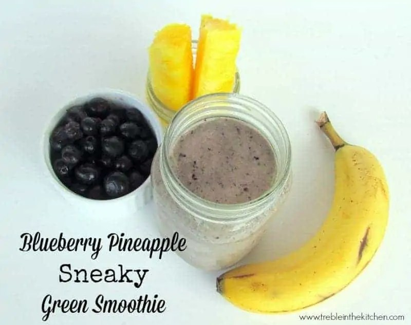 Blueberry Pineapple Sneaky Green Smoothie via Treble in the Kitchen
