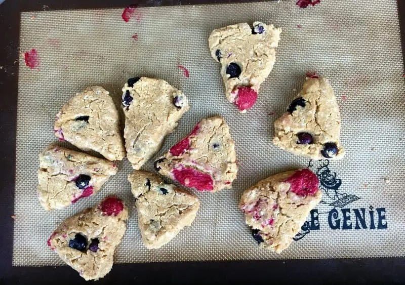 Berry Scones (gluten free, grain free, paleo friendly) from Treble in the Kitchen