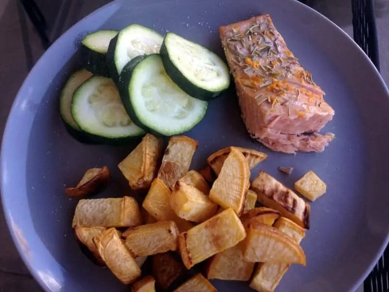 Salmon, Roasted Rutabega and Steamed Zucchini  | Treble in the Kitchen