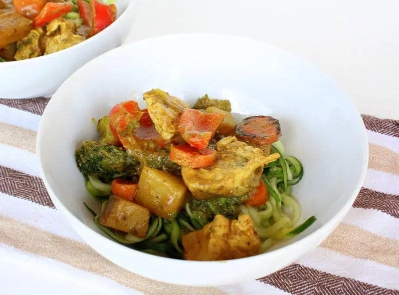 Chicken and Vegetable Banana Curry over Zucchini Noodles from Treble in the Kitchen