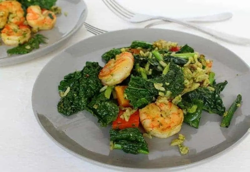 Pesto Tomato Kale and Shrimp Skillet from Treble in the Kitchen