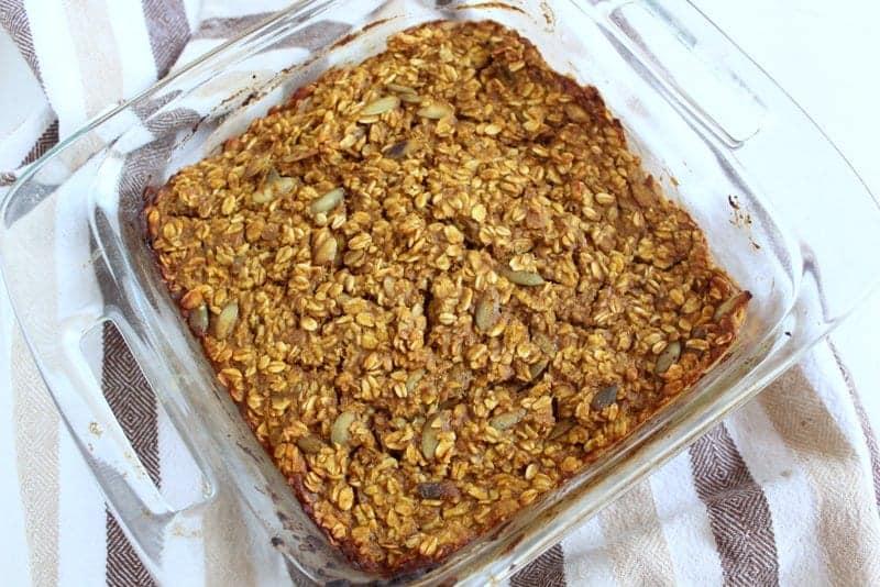Pumpkin Baked Oatmeal from Treble in the Kitchen low FODMAP, gluten free, dairy free
