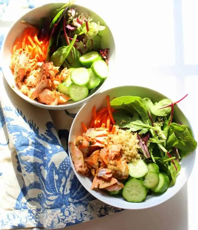 Low FODMAP Lemon Herb Dijon Salmon Bowls