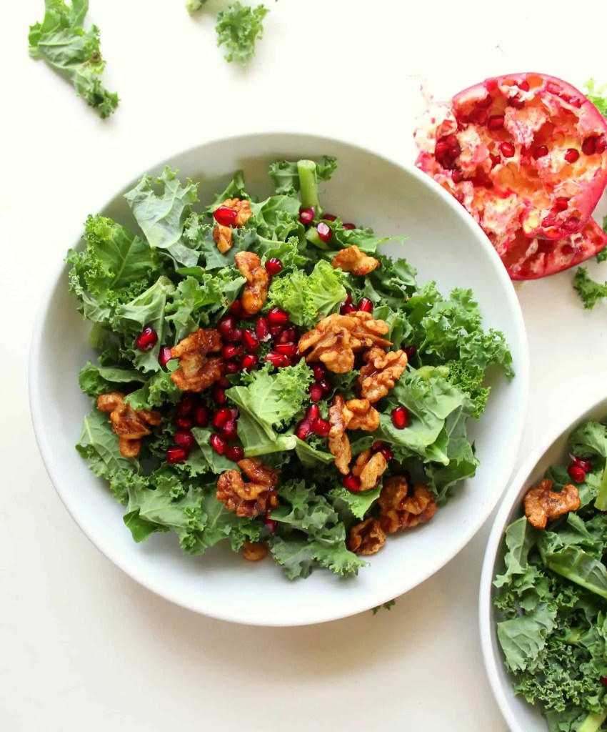 Kale Salad with Walnuts and Pomegranate - low FODMAP, gluten free, dairy free, grain free