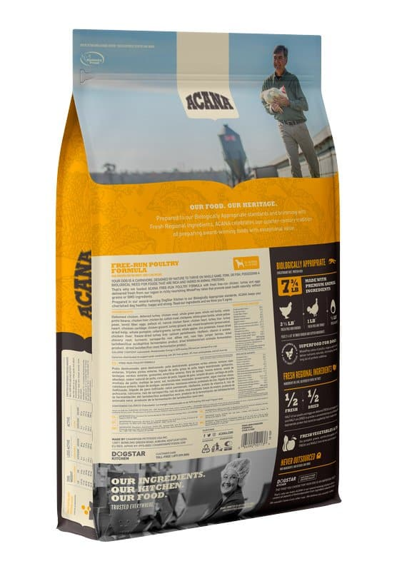 Acana Free Run Poultry back of bag